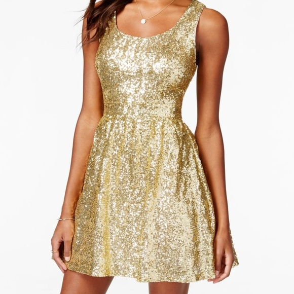 ea6162313 B Darlin Dresses | Nwt Gold Sequined Fit Flare Dress | Poshmark